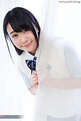 Minano Ai Looking Out From Behind Curtain