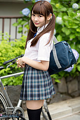 Atomi Shuri Standing Beside Bicycle Hair In Pigtails Holding School Bag