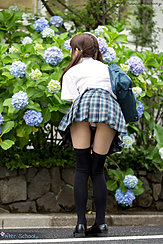 Bending Over To Smell Flowers In Uniform Upskirt Panties
