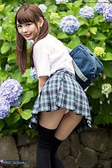 Looking Back Hair In Pigtails Wearing Pleated Skirt Panties Exposed