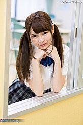 Leaning Against Sliding Window Hair In Pigtails Wearing Uniform