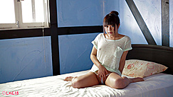 Japanese Teen Mina Sitting On Bed Wearing Striped Top Legs Spread Wide In Thong Panties