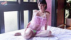 Rinay Sitting On Bed Wearing Pink Babydoll In Panties