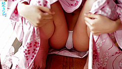 Seated In Yukata Knees Raised Yawning Wide Showing Bulging White Panties