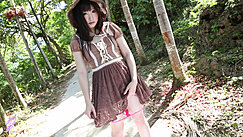 Ayame Standing On Trail Playing With Hem Of Dress Panties Down Around Her Knees