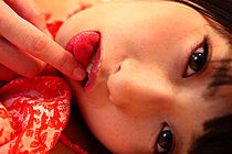 Cutie Ayame Taking Her Temperature On Bed In Red Dress