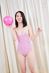 Standing In Swimsuit Holding Ball Small Breasts