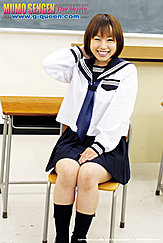 Japanese Teen Norika Makihara Seated On Chair In Classroom Wearing Kogal Uniform Hand Resting On Her Lap