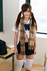 Nao Shiraishi In Kogal Outfit With Scarf Around Her Shoulders Pigtails Down Her Shoulders