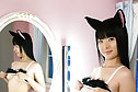 Shaved pussy cat Miku Himeno strips and poses nude