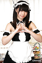 Shizuku making love heart in maid outfit