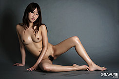 Seated Nude On Floor Long Hair Over Her Shoulders Bare Small Tits Legs Spread Trimmed Pussy Hair