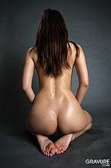 Kneeling On Floor Long Hair Down Her Back Shapely Bare Ass Bare Feet