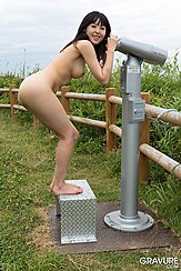Naked On Viewing Platform Looking Through Viewer Bare Breasts Pushing Her Bare Ass Out Bare Feet On Metal