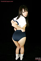 Student Mizushima Ai pulling her gym class shorts tight over her ass