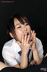 Playing With His Cum Kogal Has Cum Over Her Hands