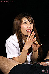 Licking Cum From Her Fingers In Kogal Uniform Long Hair