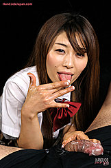Long Haired Kogal Miura Akina Licking Cum From Her Fingers