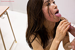 Long Hair Extending Her Cum Covered Tongue Stroking His Spent Cock