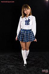 Kogal Karina Rion In Uniform Plaid Short Skirt Knee High Socks Wearing Shoes