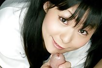 Gym class cutie Kawai Anri in pigtails giving handjob