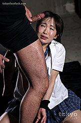 Kneeling In School Uniform Hands Tied Cock At Her Face Cumming Over Her Face