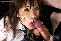 Shirohane Aina In Uniform Big Cock At Her Lips And Tongue