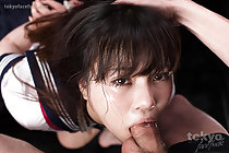 Kogal Yamamoto Erena face fucked in uniform with her arms tied