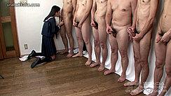 Kneeling On Wood Floor Wearing Uniform Naked Men Lined Up Masturbating Kogal Mio Sucking Cock
