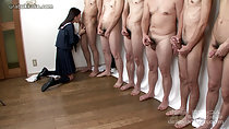 Kneeling on wood floor wearing uniform naked men lined up masturbating kogal Mio sucking cock
