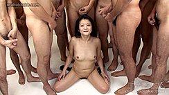 Kneeling Naked On Floor Bare Small Tits Men Masturbating Over Her