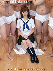 Chihiro Seated In Front Of Six Semi Naked Men Wearing Her Uniform