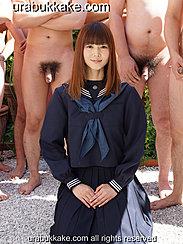 Kogal Kneeling In Seifuku Uniform Naked Men Standing Behind Her
