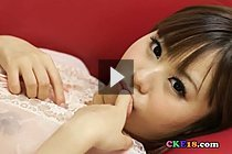 Bookwork Cutie Mikuru Plays With Her Breasts And Pussy On Couch