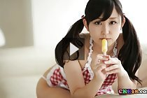 Cutie Yumi sucks popsicle in gingham dress and panties