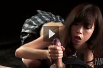 Kogal Asou Miku on all fours in plaid skirt giving handjob