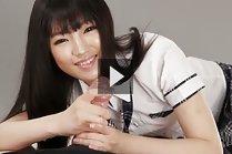 Long haired student Shiina Mizuho giving handjob in uniform