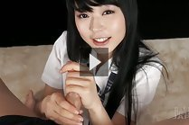 Student Kawagoe Yui on her knees giving handjob