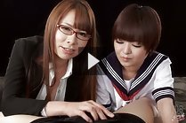 Tutor Kai Miharu teaching student Imai Meril to give handjob
